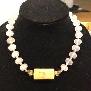 Quartz Necklace with Ivory Charm
